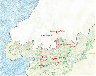 Exmoor pony - Ice Age map of the peninsula from which the British Isles were formed, showing find sites for Pleistocene and Holocene horse remains