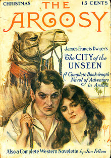 cover artwork for Argosy showing the upper portions of a man, a woman, and a camel. A desert landscape can be seen over the woman's shoulder. Cover copy advertises Dwyer's story.