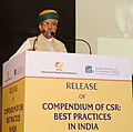Arjun Ram Meghwal addressing at the release of a 'Compendium of CSR Best Practices in India', at Indian Institute of Corporate Affairs (ICAI), at IMT Manesar, Gurugram, Haryana.jpg