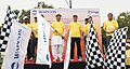 Arjun Ram Meghwal and the Minister of State for Human Resource Development and Water Resources, River Development and Ganga Rejuvenation, Dr. Satya Pal Singh flagging off the WAPCOS Run - Hum Fit to India Fit, in New Delhi.JPG