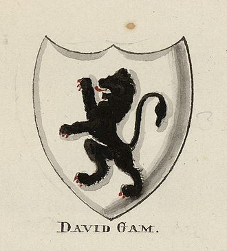 Dafydd Gam - Sir Dafydd Gam's coat of arms; from an extra-illustrated set of A tour in Wales by Thomas Pennant in the National Library of Wales