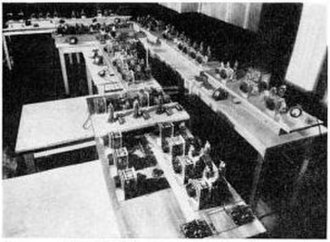 FM broadcasting - Armstrong's first prototype FM broadcast transmitter, located in the Empire State Building, New York City, which he used for secret tests of his system between 1934 and 1935.  Licensed as experimental station W2XDG, it transmitted on 41 MHz at a power of 2 kW