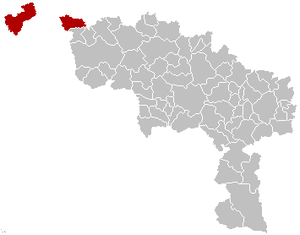 Arrondissement of Mouscron - Image: Arrondissement Mouscron Belgium Map