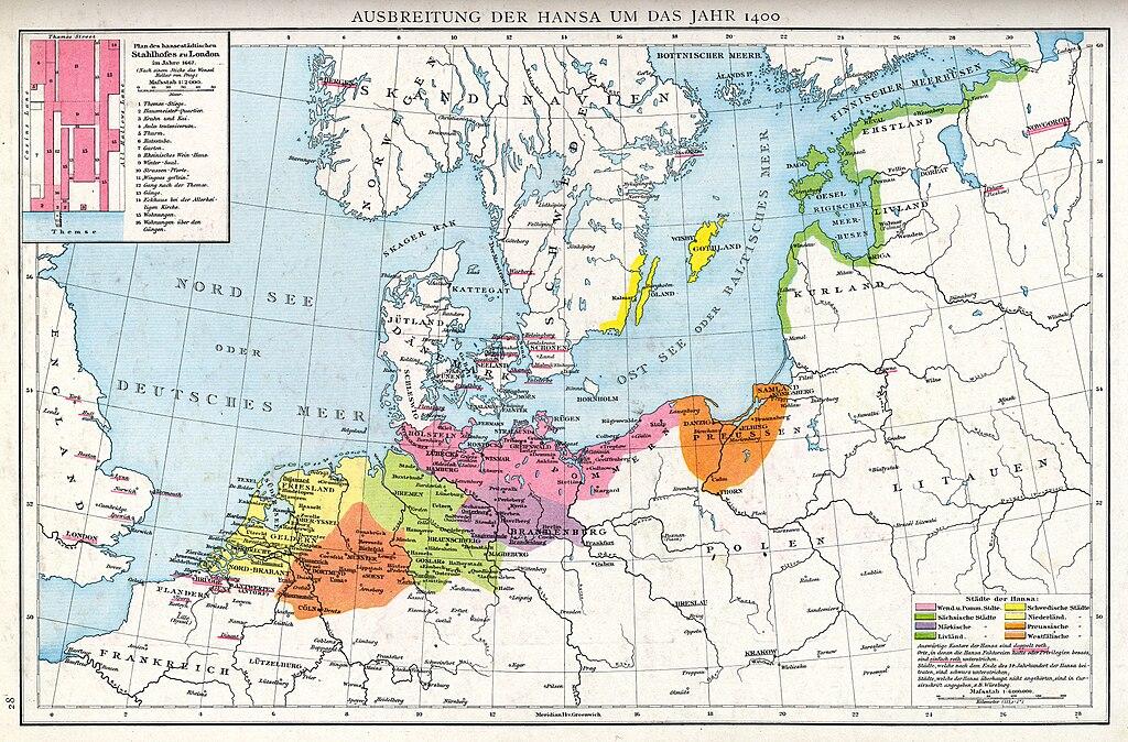 Ausbreitung der Hanse um das Jahr 1400-Droysens 28