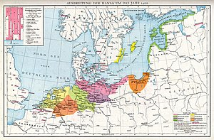 Northren Europe in the 1400s, shawin the extent o the Hanseatic League (Hanse or Hansa)