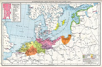 Hanseatic League - Image: Ausbreitung der Hanse um das Jahr 1400 Droysens 28
