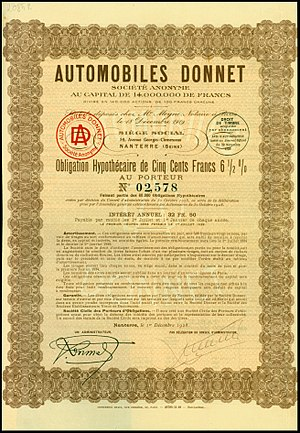 Donnet - Bond of the Automobiles Donnet SA, issued 1. December 1928