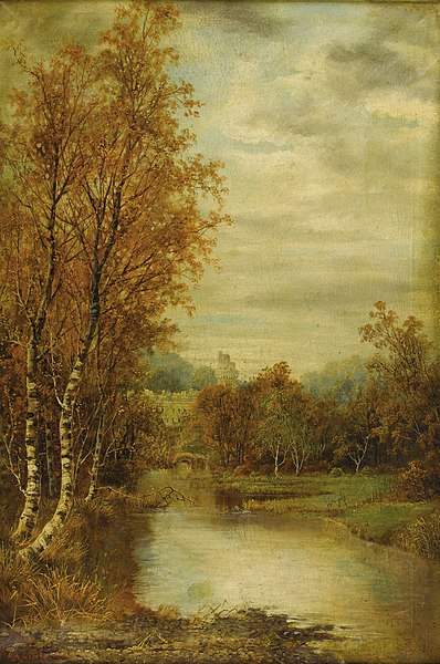 File:Autumn Landscape With Pond And Castle Tower-Alfred Glendening-1869.jpg