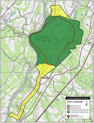 Battle of Averasborough - Map of Averasborough Battlefield core and study areas by the American Battlefield Protection Program.