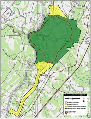 Battle of Averasborough - Map of Averasborough Battlefield core and study areas by the American Battlefield Protection Program.