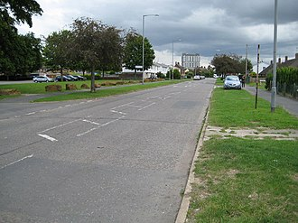 California, Buckinghamshire - Looking north east towards the council offices, from Prebendal Avenue