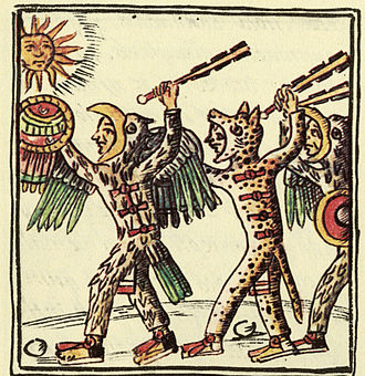 Macuahuitl - This drawing, from the 16th-century Florentine Codex, shows Aztec warriors brandishing macuahuitls