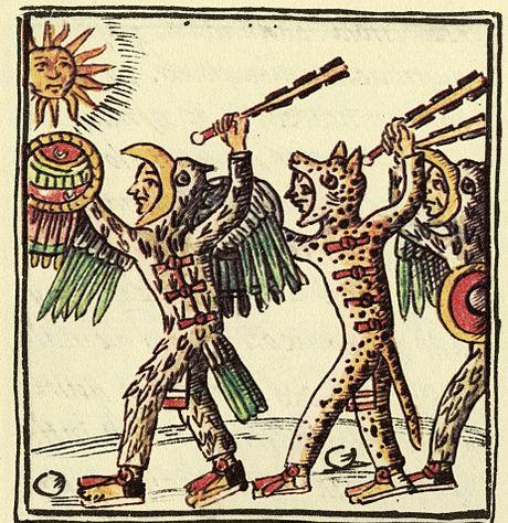 Este dibujo, del siglo XVI Códice Florentino, muestra guerreros mexica con macahuitls.