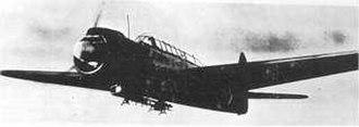 "USS Warren (APA-53) - Japanese Nakajima B6N ""Jill"" torpedo bomber in flight"