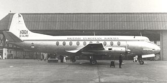 British European Airways - BEA Viscount 701 G-ALWE RMA Discovery in bare metal finish livery incorporating a burgundy cheatline, a white roof and fin at Manchester in 1953. This aircraft crashed on approach to the airport on 14 March 1957.