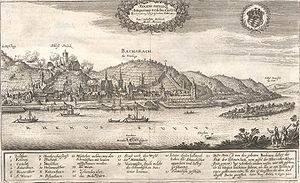 Capture of Bacharach - View of Bacharach by Matthäus Merian