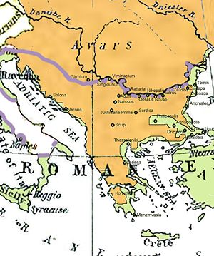 Sclaveni - South Slavic tribes (orange) in the Balkans in the 7th century; the frontier of the nominal Byzantine dominion is marked in purple, the area populated by Roman or Greek provincial population is green.