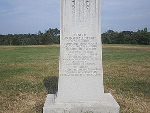 Barnard Elliott Bee Jr. - Barnard Bee Jr. monument at Manassas National Battlefield Park