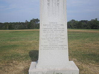 Barnard Elliott Bee Jr. - Barnard Bee Jr. monument at Manassas National Battlefield Park