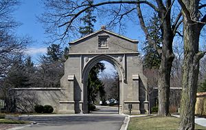 Lake Forest Cemetery - The Barrell Memorial Gate at the entrance of Lake Forest Cemetery on Lake Avenue