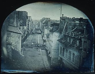 Photojournalism - 'Barricades on rue Saint-Maur' (1848), the first photo used to illustrate a newspaper story
