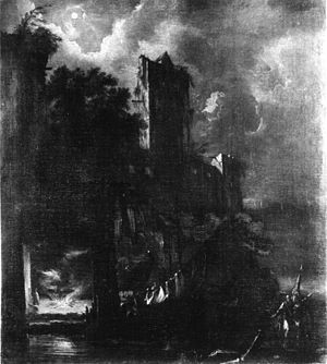 Bartolomeo Pedon - Moonlit Landscape with Ruined Castle from Walters Art Museum, Baltimore.