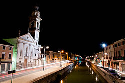 Night view from the bridge on Canale Battaglia.