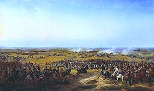 Painting shows a body of foot soldiers surrounded by cavalry, with fighting going on in the distance.