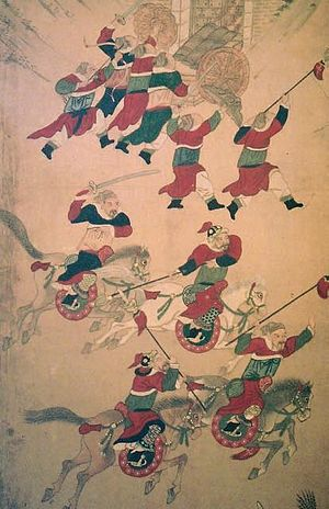 Siege of Pyongyang (1593) - Another battle scene in the painted screen.