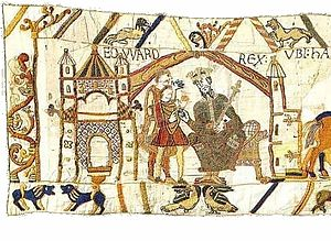 Bayeux Tapestry tituli - Image: Bayeux Tapestry Scene 01