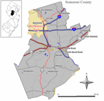 Map of Bedminster Township in Somerset County. Inset: Location of Somerset County in New Jersey.