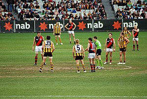 Rivalries in the Australian Football League - Games between the Hawks and the Bombers have proved spectacular, due to wild brawls