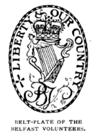 "Irish Volunteers (18th century) - Belt-plate of the Belfast Volunteers, featuring the British crown above a harp and the initials ""B V"" meaning ""Belfast Volunteers"""