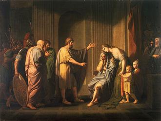 Leonidas II - Kleombrotos sent into Exile by Leonidas II, Oil on canvas, Benjamin West, c. 1768.