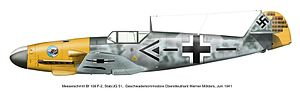 Saint-Inglevert Airfield - Messerschmitt Bf 109 F-2 of Werner Mölders, leader of Jagdgeschwader 51 at the time it was based at Saint-Inglevert