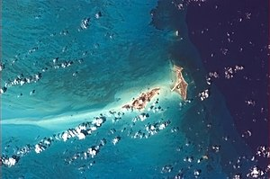 Ambergris Cay - Big and Little Ambergris Cay pictured from the International Space Station