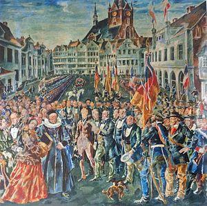 Gemälde von August Deusser: Ausrufung der Provisorischen Regierung von Schleswig-Holstein, 24. März 1848 in Kiel