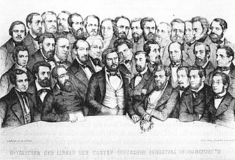 Julius Fröbel - Fröbel (1st row, 2nd from left) with the members of the Left faction in the Frankfurt Assembly