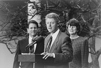 Janet Reno - Reno in the White House Rose Garden with Vice President Gore and President Clinton