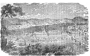 Pittsburgh railroad strike of 1877 - Birds-eye-view of Pittsburgh, c. 1877, with the Monongahela River in foreground