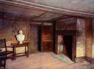 Shakespeare's Birthplace - The second-story room in which Shakespeare is thought to have been born. Unknown artist, 1903.