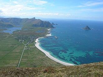 National Tourist Routes in Norway - Image: Bleik village and Bleik island, seen from Mount Royken