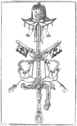 Blessed sword and hat - A blessed sword with a belt and a blessed hat received by Manuel Pinto da Fonseca in 1747, with the Keys of Heaven in the foreground