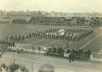 "Marching band - The first marching band formation, the Purdue All-American Marching Band ""P Block"""
