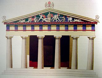 Aegina - Colour depiction of the Temple of Aphaea, sacred to a mother goddess, particularly worshiped on Aegina.