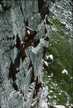 Blue Lake (New South Wales) - Peter Morris and John Eisman climb Mindbender at Blue Lake in the Snowy Mountains, Australia, 1976