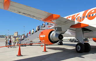 Commercial aviation - A commercial aviation scene at Palma, the airport of Majorca, Spain. Passengers board an EasyJet Airbus A320 (2010)