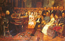 Franz Liszt gibt ein Konzert für Kaiser Franz Joseph I. auf einem Flügel von Bösendorfer (Quelle: Wikimedia)