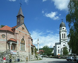 Religious pluralism - Catholic church, Mosque and Serbian Orthodox Church in Bosanska Krupa, Bosnia and Herzegovina