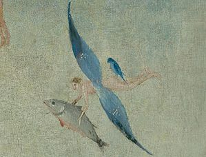 Bosch, Hieronymus - The Garden of Earthly Delights, central panel - Detail Winged figure with fish flying (upper right).jpg